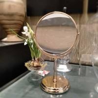 Kaca / Cermin Make Up / Rias Warna Gold 2 Sisi Bahan Stainless steel
