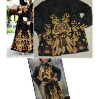 Couple Gamis Batik Gurita Set Anak Cewek Baju Batik Couple Keluarga