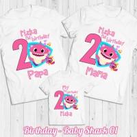 Kaos Ulang Tahun | Baju Couple Family Baby Shark