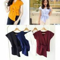 blouse wolfis blouse lengan pendek baju kerja baju wanita atasan murah