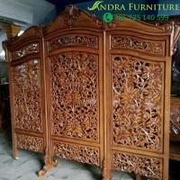 sketsel kayu jati, partisi jati, pembatas ruangan ukiran kayu jati