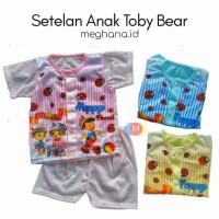 Baju Setelan Anak Cowok Karakter Toby Bear Usia 2 -8 Bulan