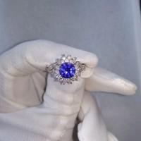 Cincin Emas Putih Murni Batu Safir Biru