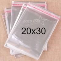 Plastik OPP 20x30 Perekat Bening Hem Baju Kaos Jaket Souvenir Seal Lem
