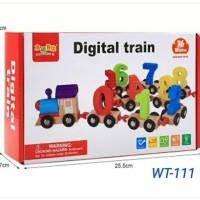 Mainan Kayu Edukasi Anak Digital train /Mainan Balok Kayu Kereta Angka