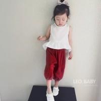 Baju Anak - Setelan Sleeveless White Top Celana Crop Kulot Merah
