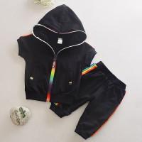 Baju Anak- Setelan Black Hoodie dan Crop Jogger Pants Rainbow zipper