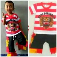 satu set baju reog Ponorogo anak umur 8-9tahun