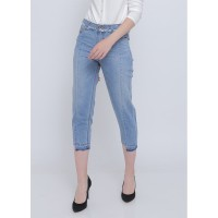 """ODIVA - """"LETICIA MOM JEANS"""" Celana Jeans Biru Muda Wanita"""