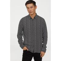 H&M Slim Fit Patterned Shirt Black Stars Original