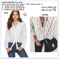 Baju Atasan Ikat Kemeja Putih Garis Wanita Korea Import AB536057 White