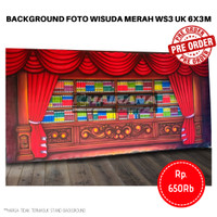 Background Backdrop Layar Foto Wisuda Gorden Merah WS3 Besar 6x3m