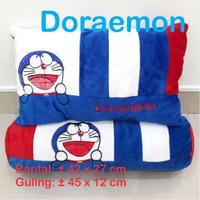 Bantal Doraemon Happy Day Set Bantal Guling Karakter Boneka Hadiah