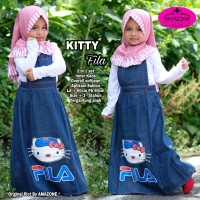 Baju Anak Perempuan Rok Panjang Jeans Kitty Fila Overall set 2 in 1