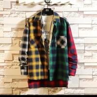 kemeja multi color korea fashion / Korean hip hop long sleeve shirt /