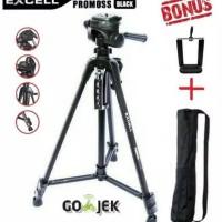 Tripod Excell Promoss Black GRATIS Holder Hp Stand Kamera Foto Studio