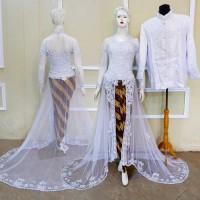 Kebaya Akad Couple Baju Pengantin Modern Muslim Free Rok & Selop