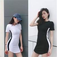 Import Mini Dress Bodycon Siluet Strip Style Dress Baju Casual Korea