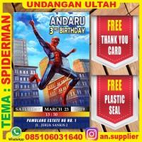KARTU UNDANGAN BONUS THANKS CARD ULTAH SPIDERMAN E/ ULANG TAHUN