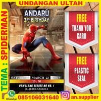 KARTU UNDANGAN BONUS THANKS CARD ULTAH SPIDERMAN D/ ULANG TAHUN