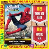 KARTU UNDANGAN BONUS THANKS CARD ULTAH SPIDERMAN B/ ULANG TAHUN