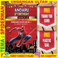 KARTU UNDANGAN BONUS THANKS CARD ULTAH SPIDERMAN A/ ULANG TAHUN