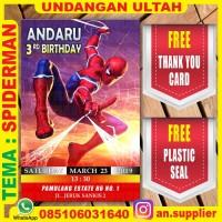 KARTU UNDANGAN BONUS THANKS CARD ULTAH SPIDERMAN C/ ULANG TAHUN