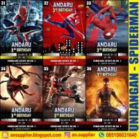 KARTU UNDANGAN ULTAH SPIDERMAN B/ ULANG TAHUN