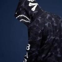 jaket bape CAMO x nbhd hitam premium rare