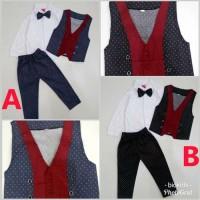 Baju Bayi Laki Laki Baju Kondangan Bayi Lengan Dan Celana Panjang Vict - A size M