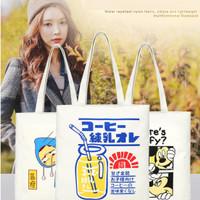 Tas Tote Bag Kanvas Tebal Fashion Korea Karikatur