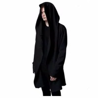 jaket jubah anime polos hoodie hitam