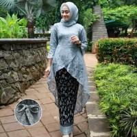setelan baju kebaya batik wanita seragam pernikahan brukat lace tunik