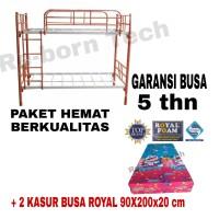 Ranjang Susun Besi Tebal 90x200 Paket + 2 pc Kasur Busa Royal FreeOngk