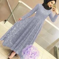 MAXI YUNI BRUKAT ABUABU [Hijab 0121] SC9 Baju Gamis Wanita Terbaru