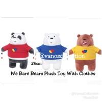 Miniso We Bare Bears Plush Toy With Clothes Boneka Panda Ice Bear Griz