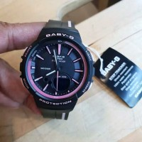 jam tangan wanita casio Baby-g BGS100sc original rubber hitam lis pink