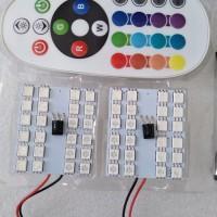 Lampu LED Kabin/Plafon Mobil RGB Remote Wireless 24 titik-mata T10