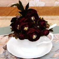 Bunga Peony Artificial Silk Import - Maroon