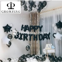 SET Balon Foil Huruf Happy Birthday isi 13 huruf - HITAM BLACK