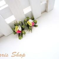 Bunga Pita Mawar Kecil 3 Kuntum Bahan Bros SF102