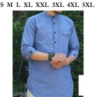 BANYAK UKURAN Baju gamis koko pria biru syari lebaran ramadhan keren
