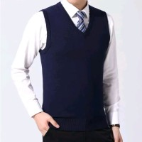 NOSH Rompi rajut pria abu polos/knit vest basic seragam kantor