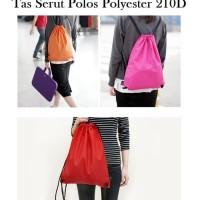 BP22 Tas Serut Polos Polyester 210D / Tas Pria Wanita Backpack Serut