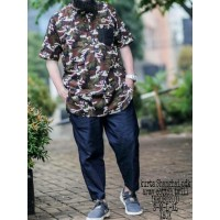 Baju gamis pria kurta modern al amwa - kurta loreng army lengan pendek