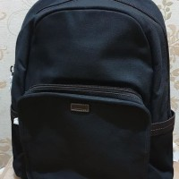 tas pria Fossil Travis Backpack Canvass Black Large ori