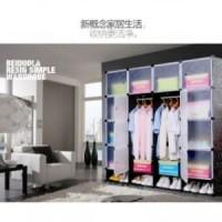 Magic Wardrobe Lemari Baju Plastik DIY 16 Pintu - Black