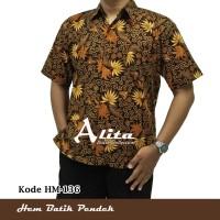 Kemeja Batik Hem Batik Pria atasan Baju Seragam Cowok Lengan Pendek 04