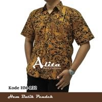 Kemeja Batik Hem Batik Pria atasan Baju Seragam Cowok Lengan Pendek 03
