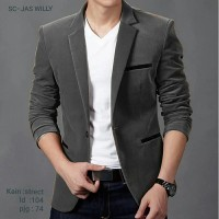 Blazer Pria Black Willy Dark Gray